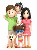 Familia en desgaste de la nadada ilustración del vector