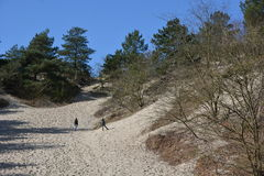 Familia en duna cerca de Camperduin en Países Bajos, Noord-Holland Imágenes de archivo libres de regalías