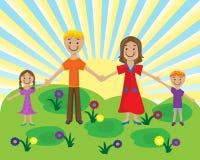 Familia en el césped stock de ilustración