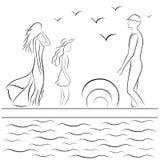 Familia en el embarcadero del mar libre illustration