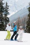Familia en el esquí Imágenes de archivo libres de regalías