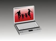 Familia en el ordenador Imagenes de archivo