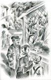 Familia en el parque zoológico libre illustration