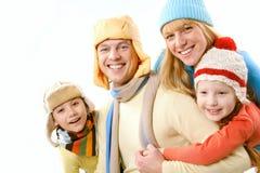 Familia en invierno Imagen de archivo libre de regalías