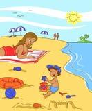 Familia en la playa libre illustration