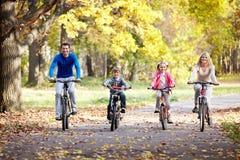 Familia en las bicis Foto de archivo libre de regalías