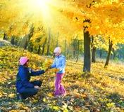Familia en parque del arce de la sol del otoño imagenes de archivo