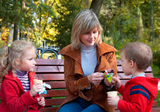 Familia en parque del otoño foto de archivo