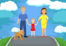 Familia en paseo stock de ilustración