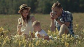 Familia en prado hermoso del verano que disfruta de su comida campestre metrajes