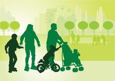Familia en walk_2 stock de ilustración
