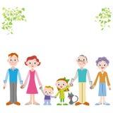 Familia extranjera de la tercera generación del buen amigo que ata una mano Imagen de archivo