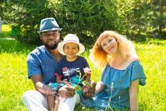 Familia feliz afroamericana: padre, mamá y bebé negros en la naturaleza Utilícelo para un niño Fotografía de archivo libre de regalías