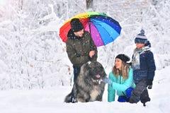 Familia feliz al aire libre Familia con el perro casero en un bosque del invierno imagen de archivo libre de regalías