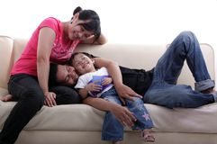 Familia feliz asiática Imagen de archivo libre de regalías