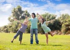 Familia feliz con el adolescente Imagen de archivo