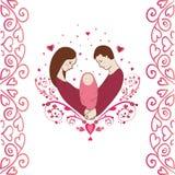 Familia feliz con el bebé recién nacido Puede ser utilizado como textura inconsútil Fotografía de archivo