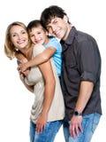 Familia feliz con el niño Imagenes de archivo