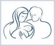 Familia feliz con el niño recién nacido. Fotografía de archivo