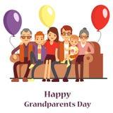 Familia feliz con la abuela y el abuelo Cartel del día de los abuelos con la gente del personaje de dibujos animados ilustración del vector