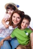 Familia feliz con la madre y los niños Imagen de archivo