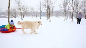 Familia feliz con los niños y un perro que se divierte en un parque nevado en invierno metrajes