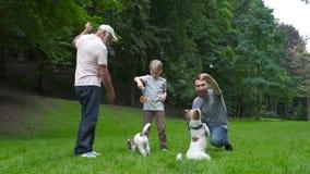 Familia feliz de abuelo y de hijo del padre con el perro del terrier de Jack Russel que se divierte, riendo, funcionamiento, cami metrajes