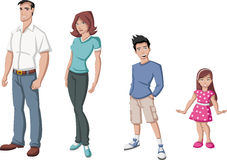 Familia feliz de la historieta Foto de archivo libre de regalías