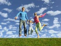 Familia feliz de la mosca Imágenes de archivo libres de regalías