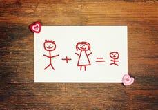 Familia feliz de la tarjeta de felicitación Foto de archivo libre de regalías