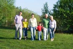 Familia feliz de seises en la naturaleza imagenes de archivo