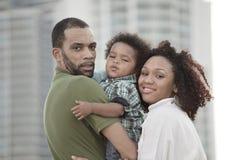 Familia feliz del afroamericano Imagen de archivo