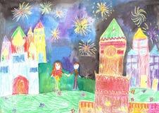 Familia feliz del dibujo del niño Fuegos artificiales de observación del hombre y de la mujer Foto de archivo libre de regalías