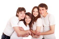 Familia feliz en el abarcamiento de la camiseta de la pizca. Fotografía de archivo