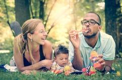 Familia feliz en el parque en el efecto o el instagram retro fi del filtro fotografía de archivo libre de regalías