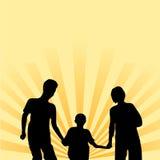 Familia feliz en el vector de la puesta del sol