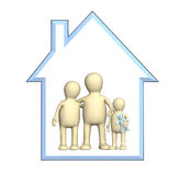 Familia feliz en la casa stock de ilustración