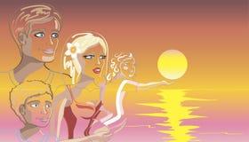 Familia feliz en la playa en la puesta del sol. creativo Ilustración del Vector
