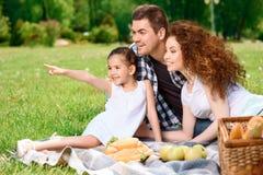 Familia feliz en un almuerzo en el parque Foto de archivo libre de regalías
