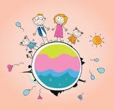 Familia feliz en VECTOR del â de la tierra stock de ilustración