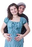 Familia feliz, padres que esperan a un bebé Fotos de archivo libres de regalías