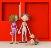 Familia feliz que adopta al bebé de incentivo Imagen de archivo libre de regalías