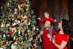 Familia feliz que adorna un árbol de navidad con los boubles en la sala de estar Imágenes de archivo libres de regalías