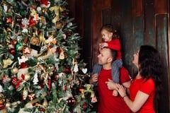Familia feliz que adorna un árbol de navidad con los boubles en la sala de estar Imagen de archivo