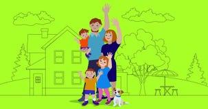 Familia feliz que agita con la casa en el fondo