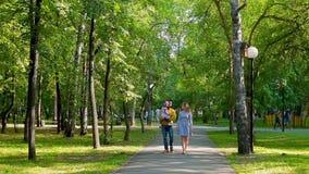 Familia feliz que camina en el parque del verano Vaya hacia la cámara almacen de metraje de vídeo