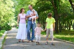 Familia feliz que camina en parque de la ciudad, el grupo de cinco personas, la estación de verano, el niño y el padre Imagen de archivo