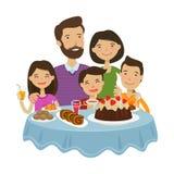 Familia feliz que celebra Concepto del día de fiesta Ilustración del vector de la historieta libre illustration