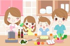 Familia feliz que cocina en cocina stock de ilustración