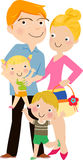 Familia feliz que gesticula con sonrisa alegre Foto de archivo